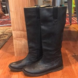 Frye Celia X stitch Black Leather Boots